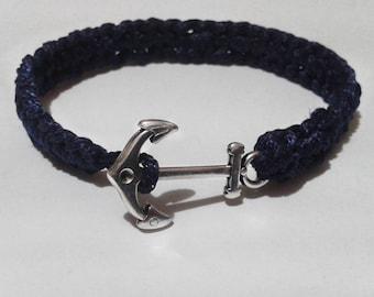 Handmade macrame man's bracelet with decorative silver anchor