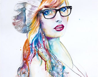 """Original Watercolor Painting -""""Colorblind"""". Portrait of a girl with glasses."""