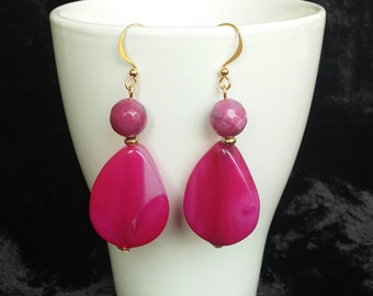 Silver earrings with golden Agate Fuchsia bath