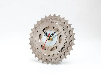 Bicycle Gear Clock, Bicycle Desk Clock, Cyclist Gift, Bicycle Gift, Bicycle Geek Gift, Small Desk Clock, Unique Industrial Decor, Bike Clock