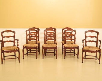 44792EC: Set Of 8 Country French Dining Room Chairs w. Rush Seats