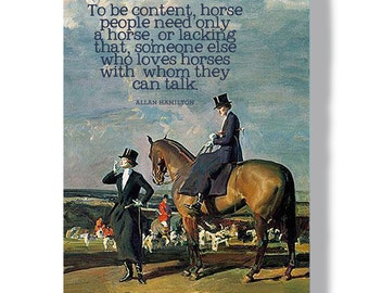 Classical equine art metal sign, inspirational horse art, gifts for horse lovers, indoor outdoor barn art aluminum sign, foxhunting art
