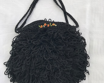1920s style black curly flapper bag with embroidery