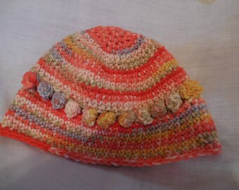 Knitted Women's Hat  Handmade  New  Coral/Gold Colors