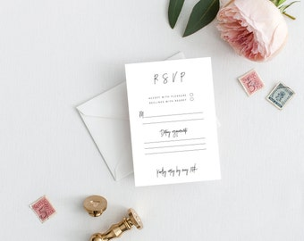 RSVP Wedding Response Card Rsvp Cards Printable rsvp template wedding rsvp online PDF Instant Download Templett
