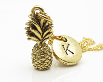 Pineapple Necklace, Pineapple Jewelry, Gold Pineapple, Pineapple Charm, Custom Hand Stamped, Personalized, Monogram, Initial Necklace Z008