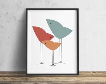 Three Little Birds - DOWNLOADABLE Instant Download Print - Original Illustration Fine Art Quality Print 4 DOLLAR Printable Print it Yourself