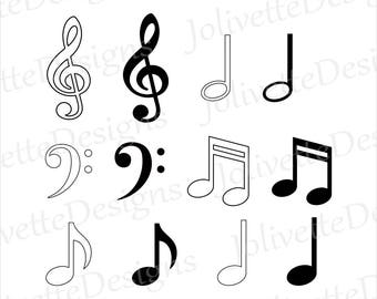 Music Notes, Note, Treble Clef, Bass, Quarter, Eighth, Half, Clip Art, Clipart, Design, Svg File, Png, Eps, Dxf, Pdf, Silhouette, Cricut,