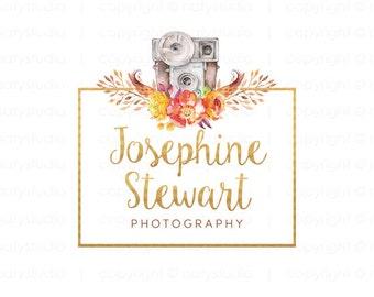 Camera logo photographer logo gold text logo predesigned logo graphic design watercolor logo business logo design