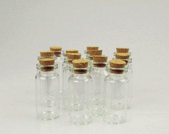 Mini Corked Jar Tube Bottles Favor Souvenir, 12-Piece