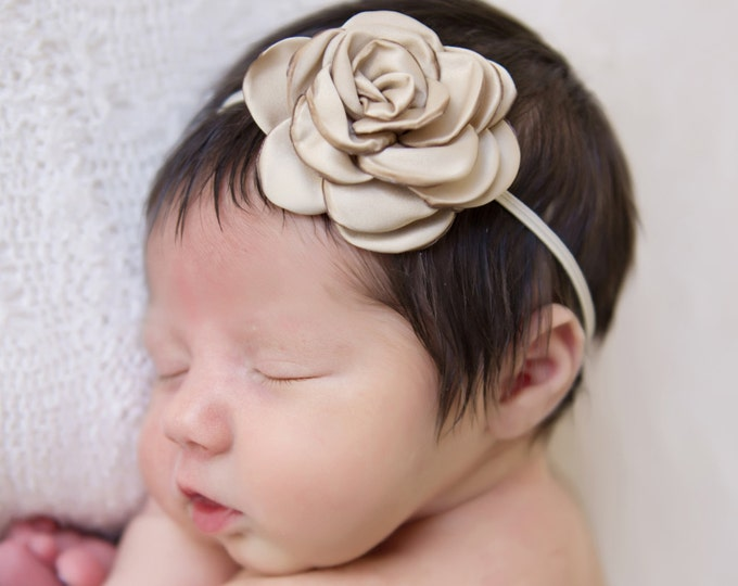 Pretty 2.25 inch tan satin rose flower on skinny elastic, just perfect for a newborn, photo shoots or everyday, Lil Miss Sweet Pea