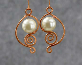 Spiral earrings, pearl earrings, Dangle earrings, Copper, Personalized, Handmade, Anniversary gifts, Gift for Her, Free US shipping