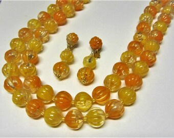 Orange Plastic Beaded Necklace and Earring Set 1960s Signed Hong Kong Molded Bead Jewelry Set