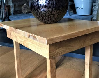 Side table with Oak legs and frame and Ash top