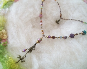 Necklace Dainty Boho Hippie Fairy Glass Bead Necklace New and Vintage Pastel Rainbow Glass Bead Necklace Dragonfly and Filigree Findings