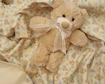 Cotton Flannel Baby Blanket, Baby Shower Gift, Gender Neutral Blanket, Baby Blanket, Crocheted Blanket, Shower Gift, New Baby Gift
