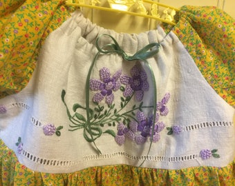 Girls 4T Dress Upcycled Repurposed Vintage Hand Embroidered Linen