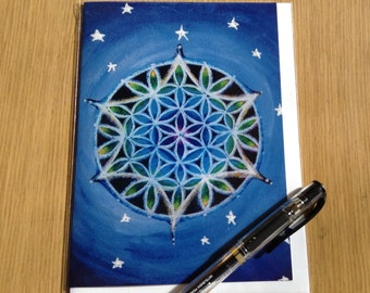 Flower of Life  Mandala  Greeting Card -  Blank Art Card-