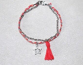 Fancy chain bracelet + braid tassel charm pink star Brasilda Pink Star