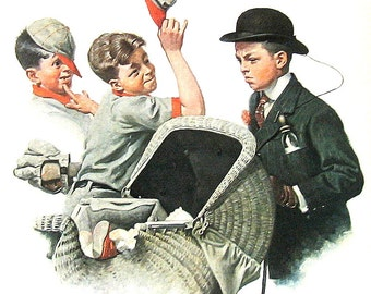 Home Duty - Vintage1978 Norman Rockwell Print - 9 x 11