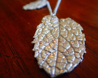 Fine Silver Necklace Peppermint Leaf- handmade fine silver necklace- handmade silver leaf necklace- .999 Pure silver necklace. Leaf pendant