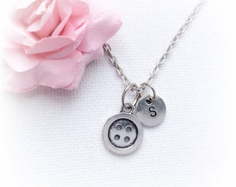 Button Necklace, button Jewellery, vintage Gift, button Charm Jewelry, Personalised jewelry, , handmade necklace, SPMCINBU1,