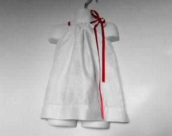 Vintage Damask Pillowcase Dress. Damask Linen. Girls Upcycled Clothing.Valentines Dress. White Dress. Christening Dress. Eco Kids Dress .