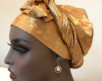 Long versatile, elegant antique gold jaquard head wrap, neck scarf, satin head scarf, gold scarf, gold wedding shawl, gifts for women