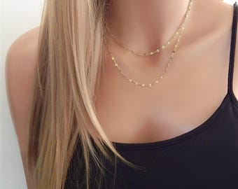 Layered Necklace • Layering Sequin Chain • Gold or Silver Layered • Minimal Necklace • Short and Long Chain • Gift for Her