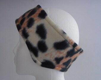 Black, Brown, And Cream Animal Print Fleece Ear Warmer / Earband
