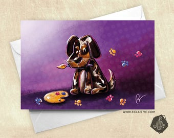 The mothers puppy artist painter and pallet party greeting card