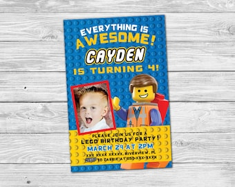 Lego Movie Birthday Invitation - Everything is Awesome - Personalized Printable Invite
