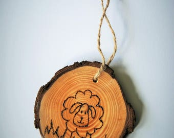pyrography tree slice sheep hanging decoration