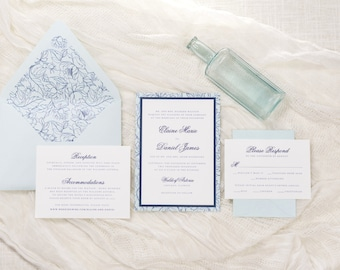 Delicate Floral Layered Wedding Invitation in White, Aqua, and Navy Blue  | Elegant, Modern, Formal  |  The Charming Suite