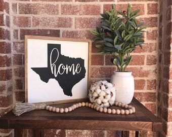Texas Home 12x12 - Wood Sign- Farmhouse decor, gift idea, house warming