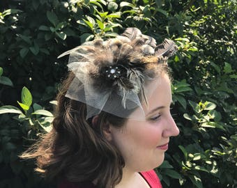 Natural feather fascinator headband