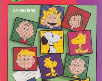PEANUTS MAGNETS ~ Charlie Brown, Snoopy and Gang ~  plastic canvas pattern