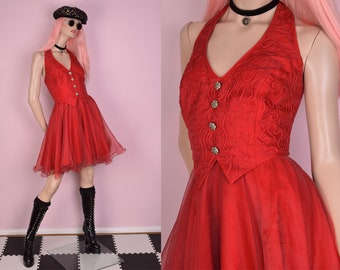 80s Red Halter Party Dress/ Large/ 1980s