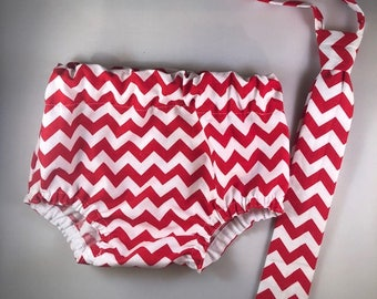 Necktie or Bowtie, Diaper Cover Set Red/White Chevron Photography Prop, Dressy Baby Boy