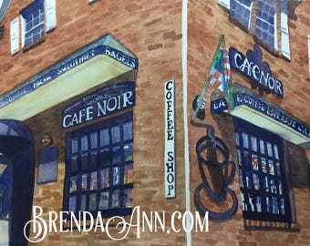 Stone Harbor Cafe Noir in Stone Harbor, NJ - Hand Signed Archival Watercolor Print Wall Art by Brenda Ann