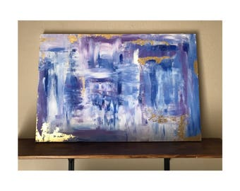 Violet- Wood Framed Abstract Painting 24x36