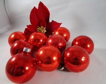 Red Mercury  Glass Christmas Bulbs  (1236)