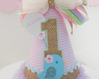 Little Bird Burlap and Pink Gingham Birthday Party Hat - Pastels - Light Yellow, Blue, Pink, Cream and Burlap- Personalized