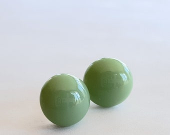 Sage Green Earrings, Green Stud Earrings, Post Earrings, Pale Green, Fused Glass Jewelry, Sterling Silver Posts, Forest Green, Made in USA