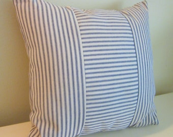 "Navy Blue Ticking Pillow Cover, Decorative Pillow,  20"" and 18"",  Dark Blue and Off-White"