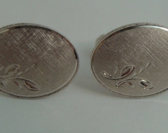 Vintage 925 Sterling Silver Textured Floral Design Classic Cuff Links Collectible