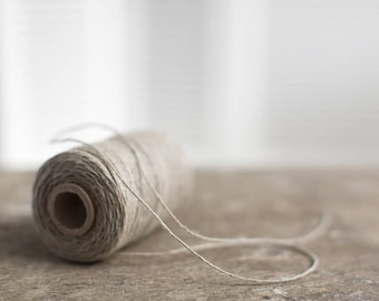 Linen twine - Natural color linen cord - Flax string - Gift wrapping yarn spool - Twisted cord for small macrame projects - Bookbinding cord