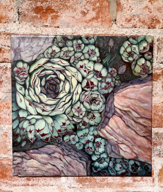 "Garden Art Succulent Painting ""Hen and Chicks no.2"" free shipping everywhere, succulents xeriscape, acrylic painting, green red grey silver"