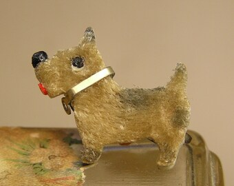 Vintage Celluloid with Fuzzy Body Dog