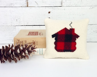 Cabin Pillow, Buffalo Plaid Pillow, Red and Black Plaid Pillow, Cabin Decor, Balsam Pillow, Rustic Home Decor, Log Cabin Decor, Small Pillow